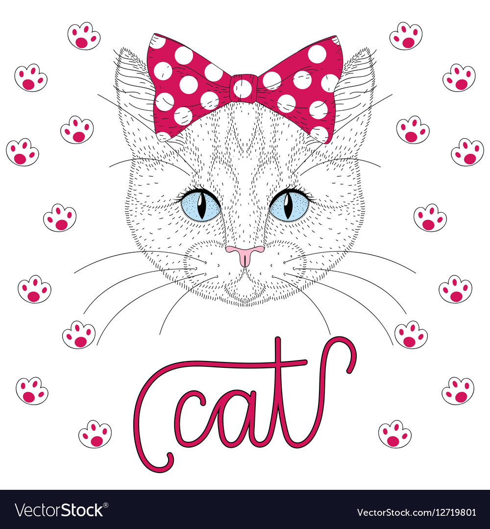 Cute pussycat portrait with pin up bow tie on head vector image