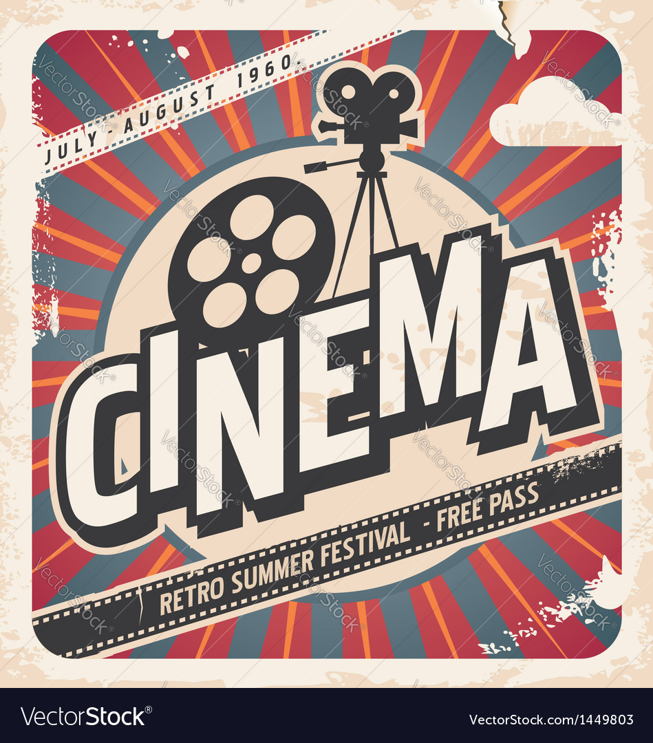 Retro cinema poster vector image