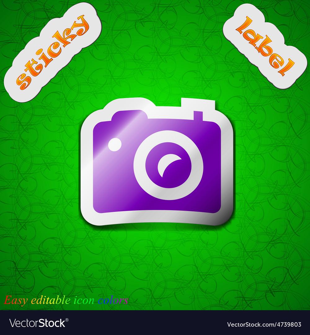 Digital photo camera icon sign Symbol chic colored vector image