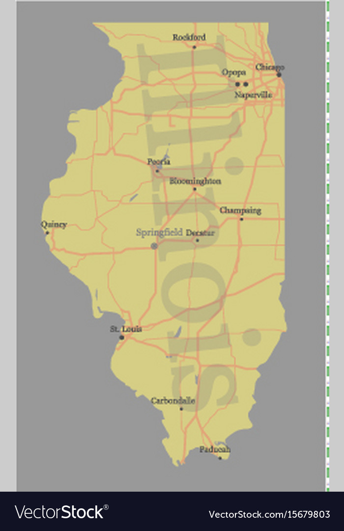 Illinois accurate exact detailed state map vector image