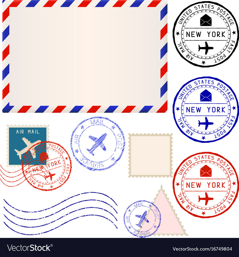 International mail envelope with collection of vector image