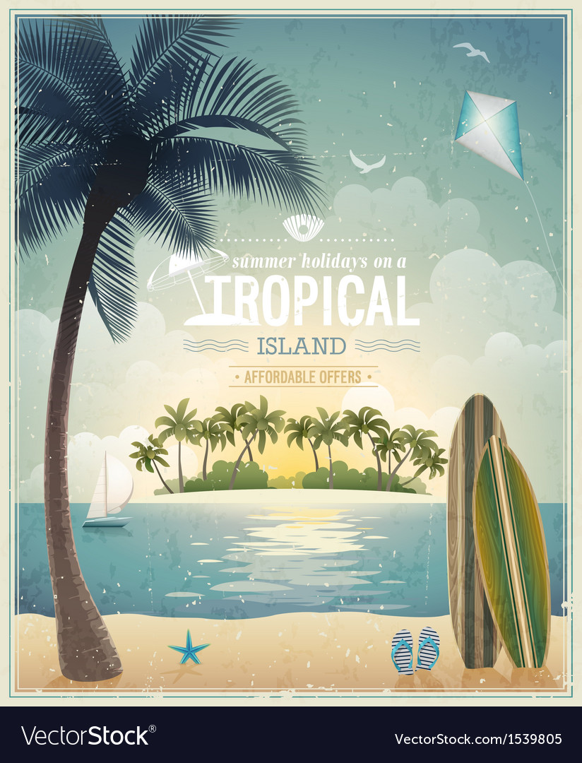 Beach and palm vintage vector image