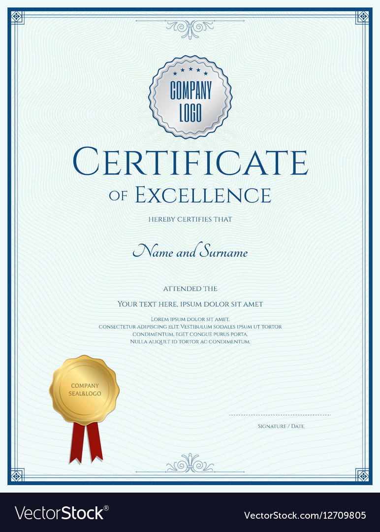 Certificate Of Excellence Template With Gold Seal Vector Image  Certificate Of Excellence Template