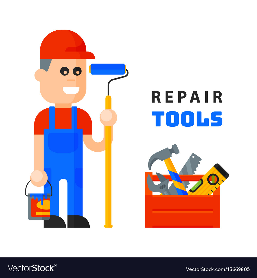 Service worker macter man character flat style vector image