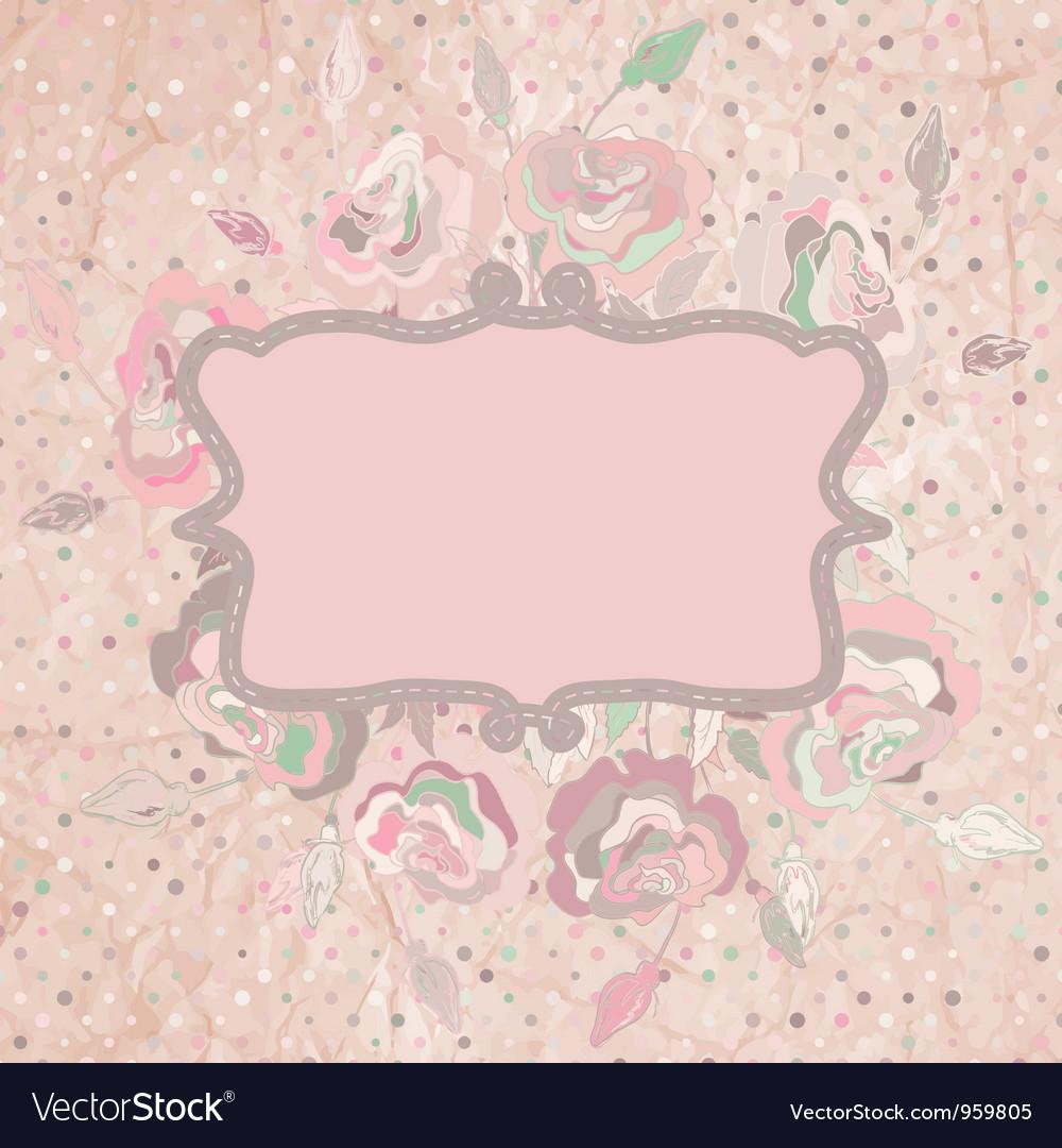 Vintage with pink rose on paper polka dot EPS 8 vector image