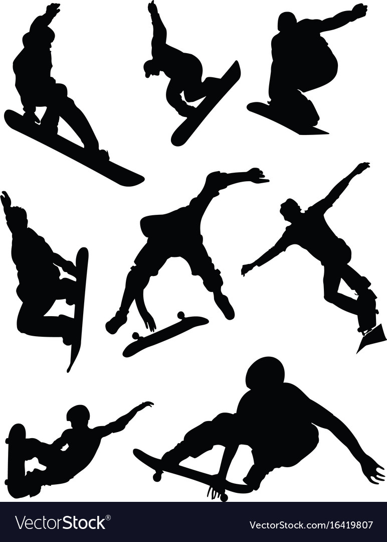 Black silhouettes of skateboard and snowboard vector image