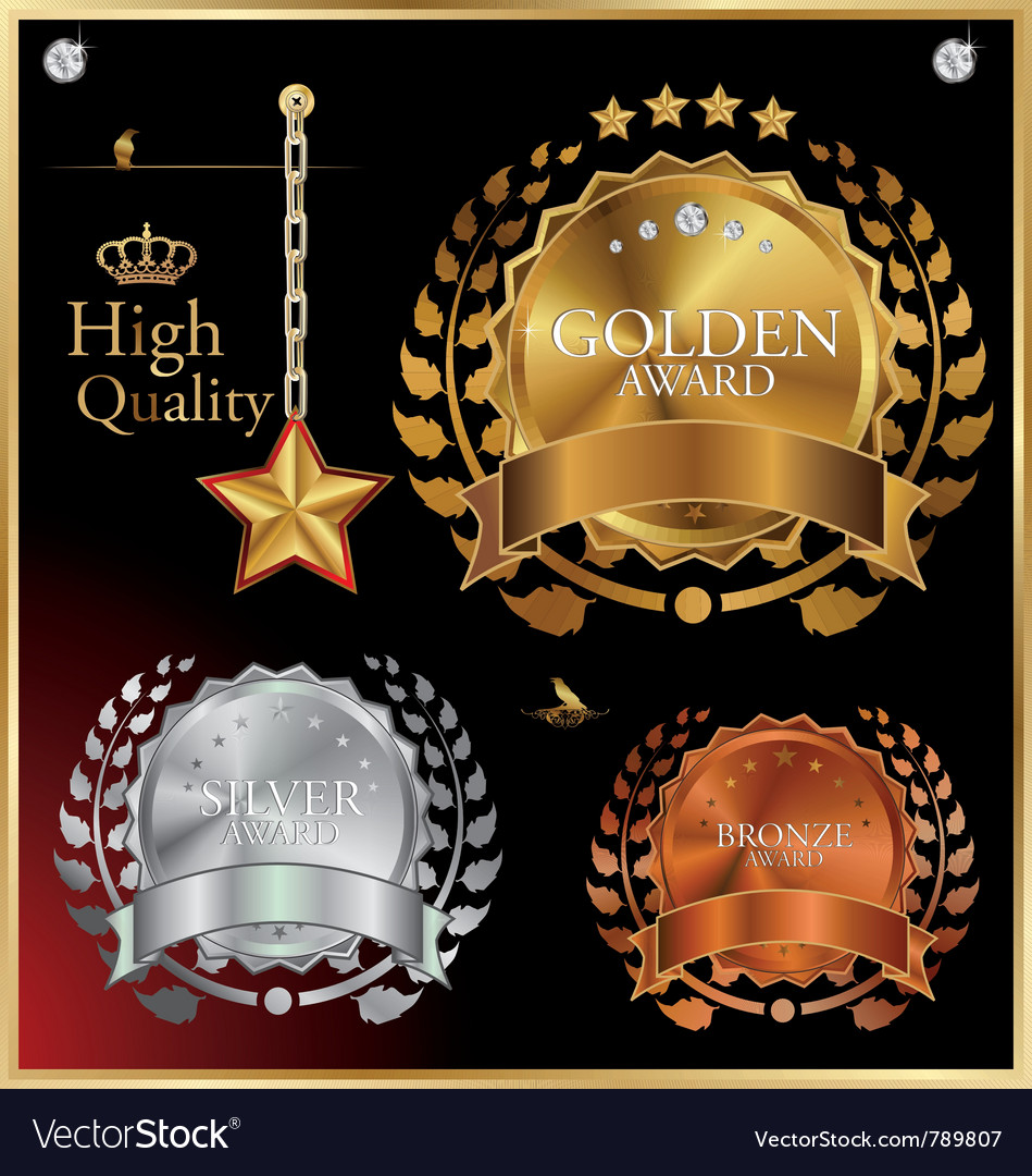 Gold silver and bronze medals vector image