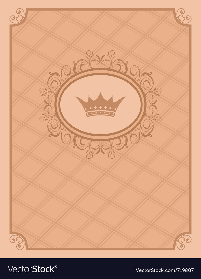 Vintage background with floral frame and crown - vector image