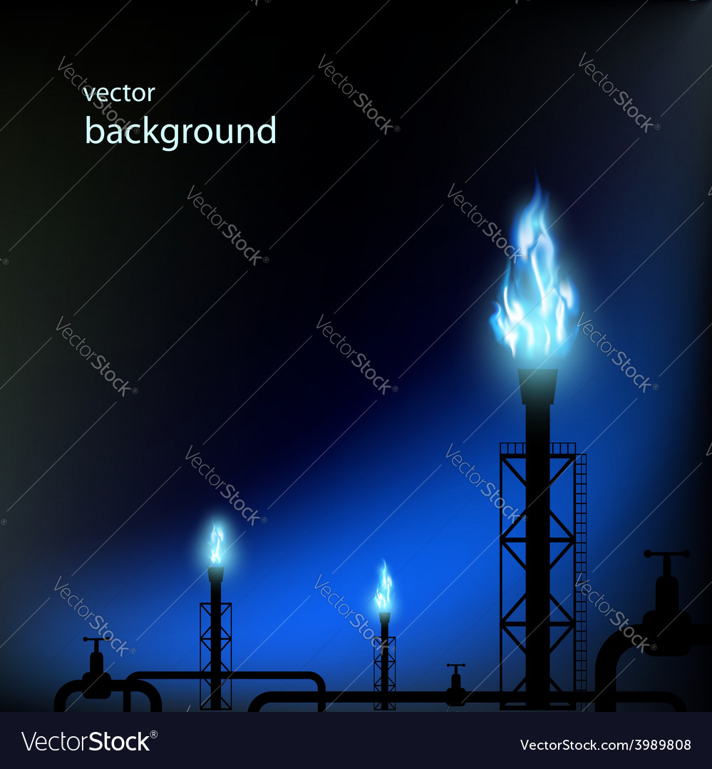 Gas pipes with a blue flame vector image