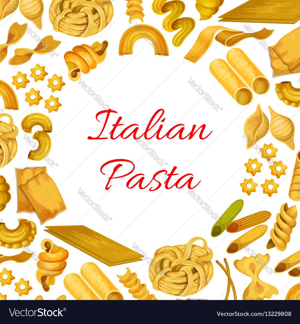 Italian pasta macaroni spaghetti poster vector image
