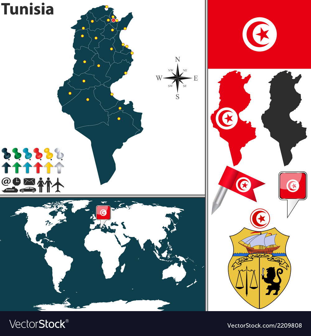 Tunisia map world vector image