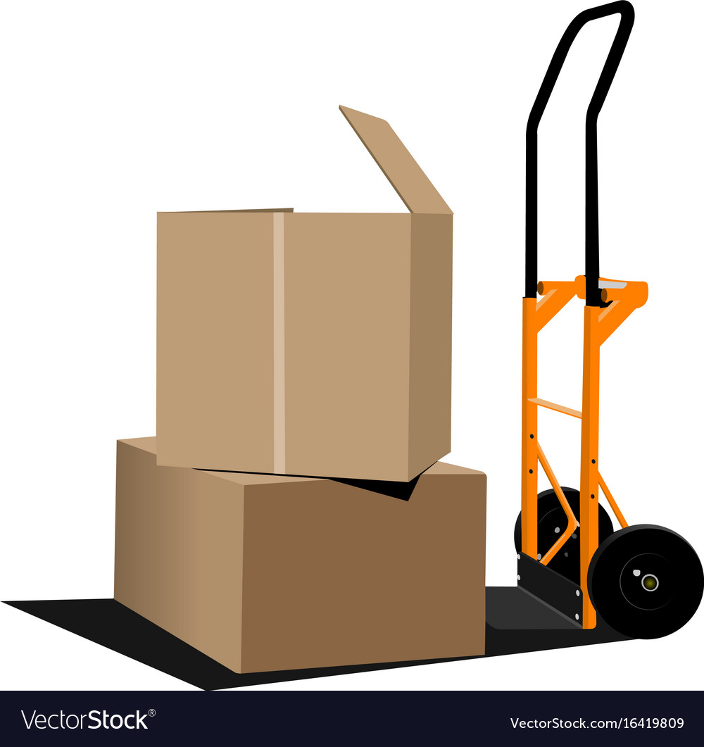 Industrial forklift with a load of the boxes vector image