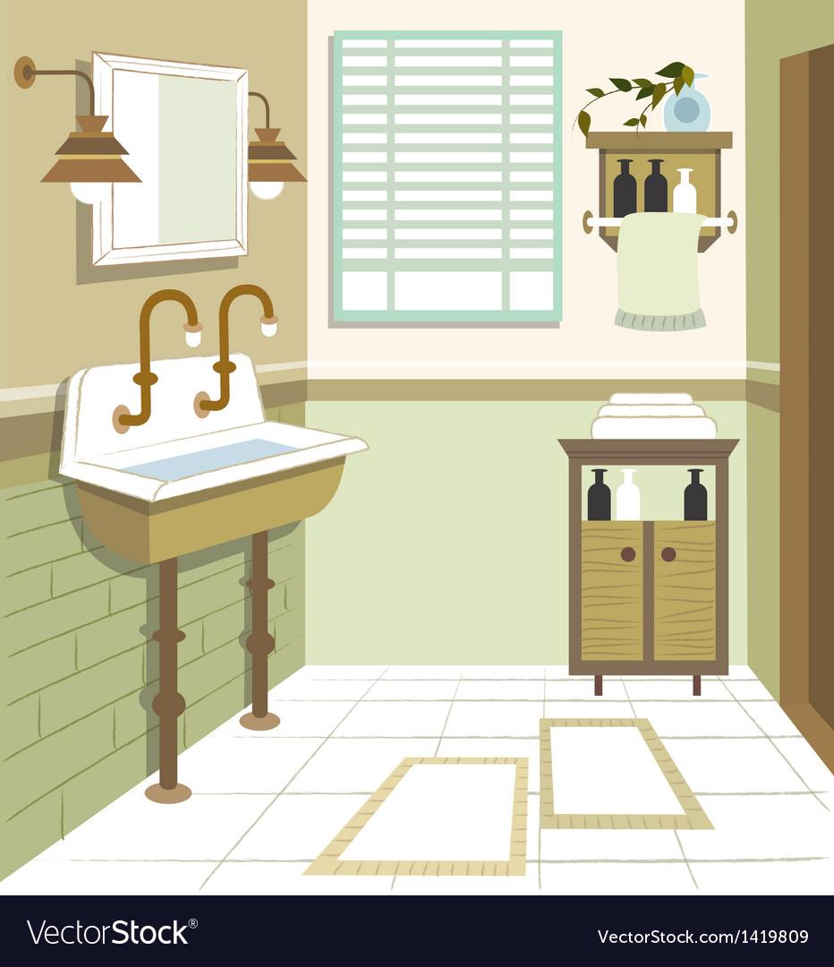 Retro Washroom Interior vector image