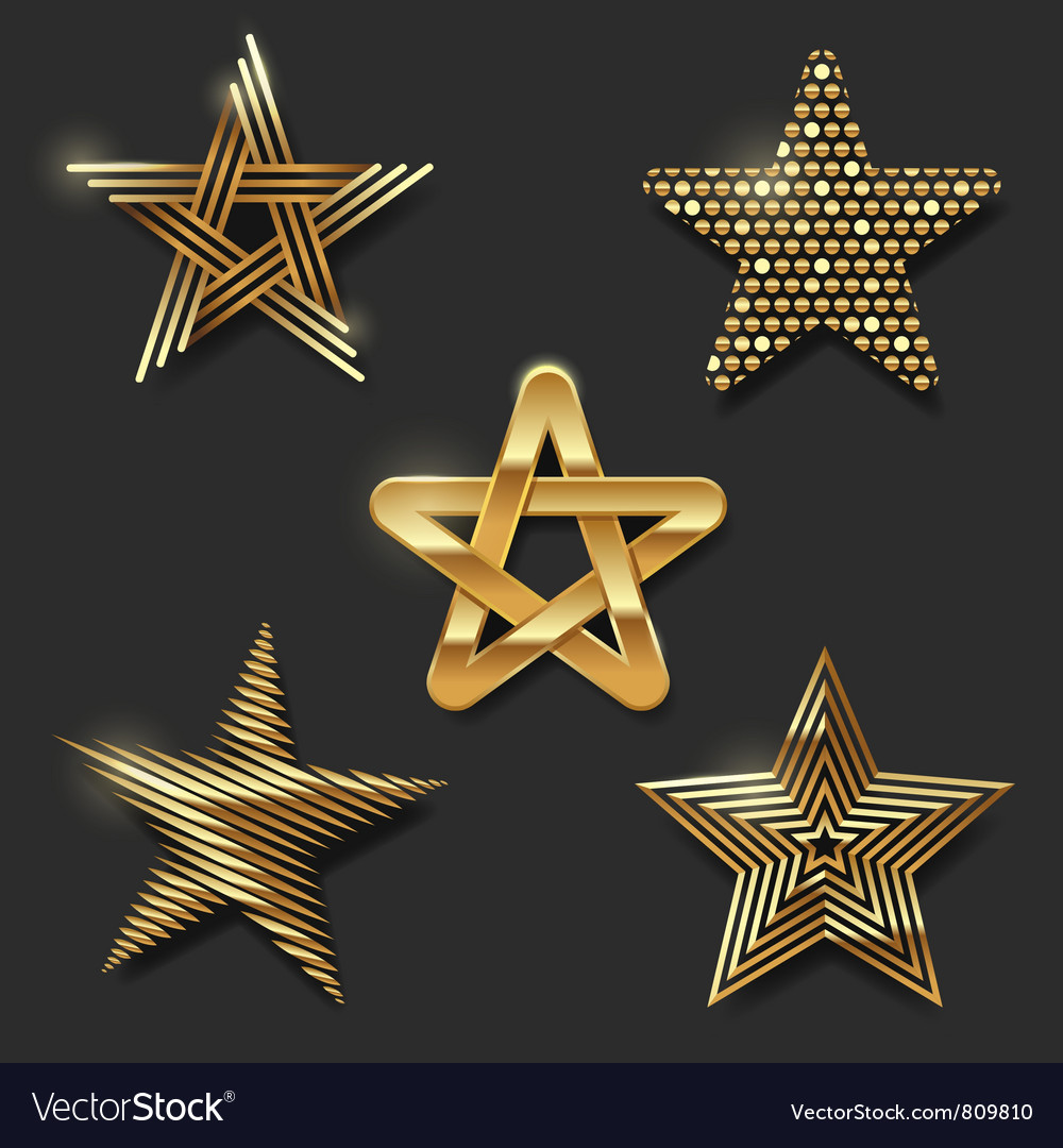 Set of golden decorative stars vector image