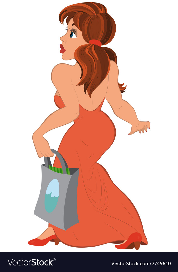 Cartoon girl in long red dress with bag side view vector image