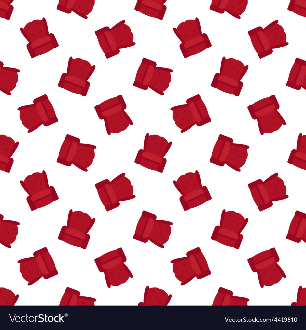 Red flat armchair seamless pattern vector image