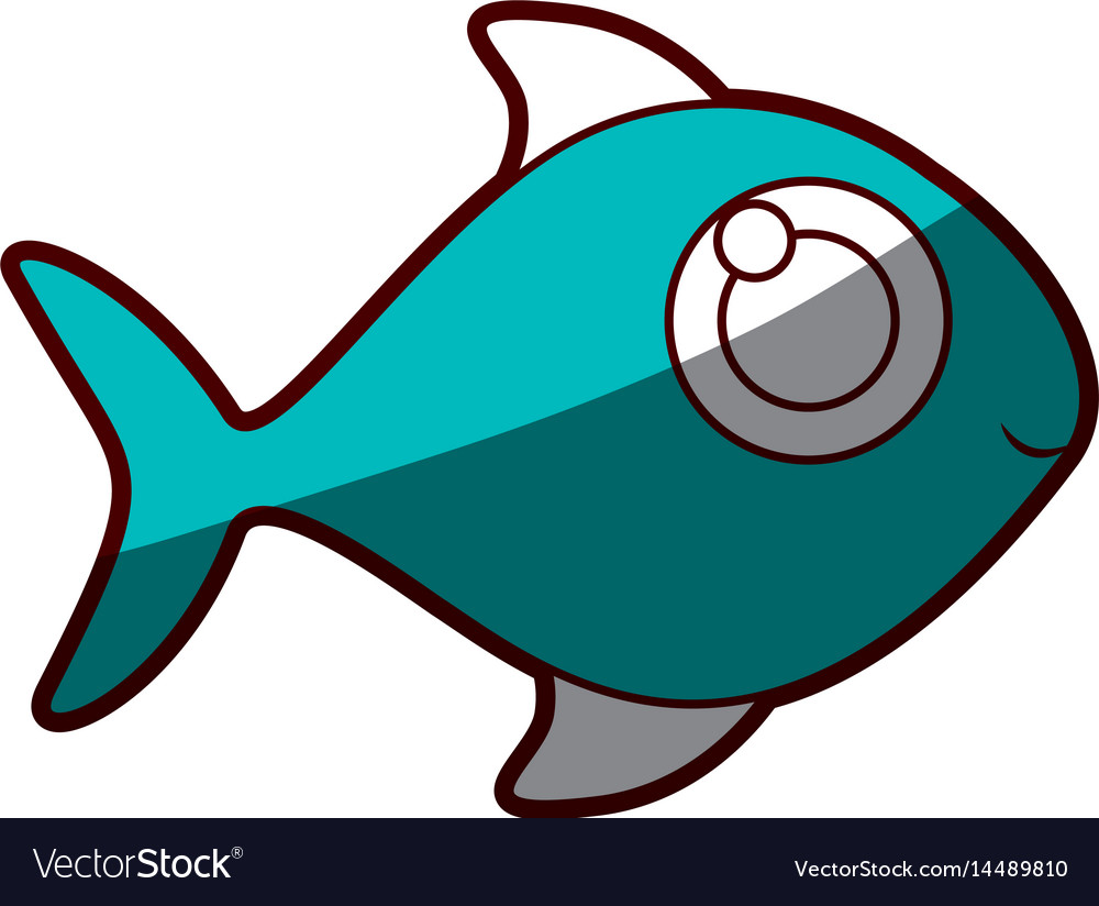 Silhouette color blue of fish without scales vector image
