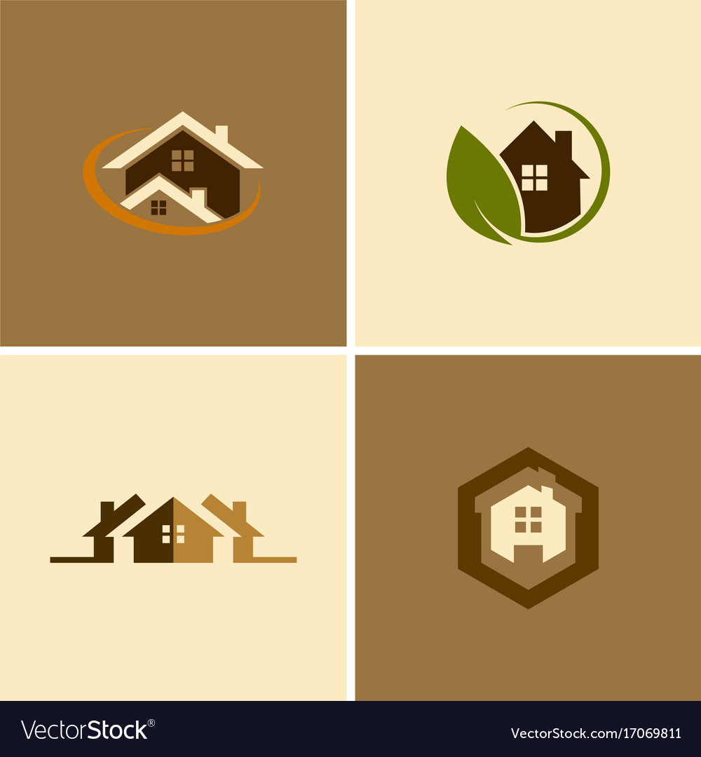 Eco house logos vector image