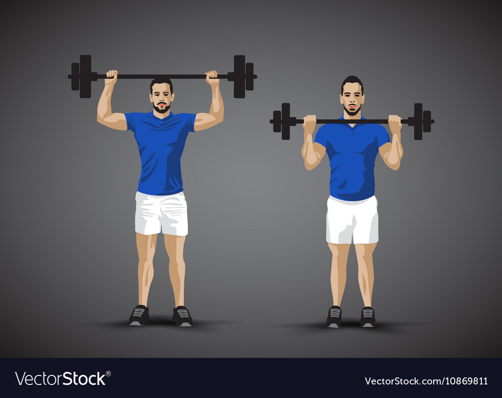 Training barbel man vector image