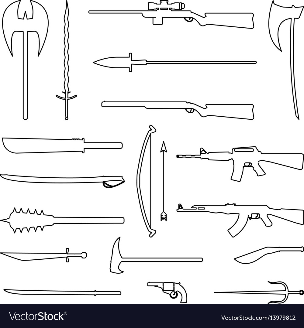 18 weapon outline icon medieval and modern vector image