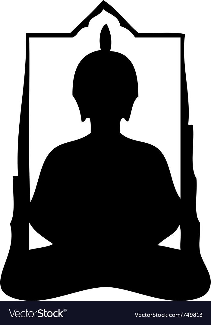 Buddha silhouette vector image
