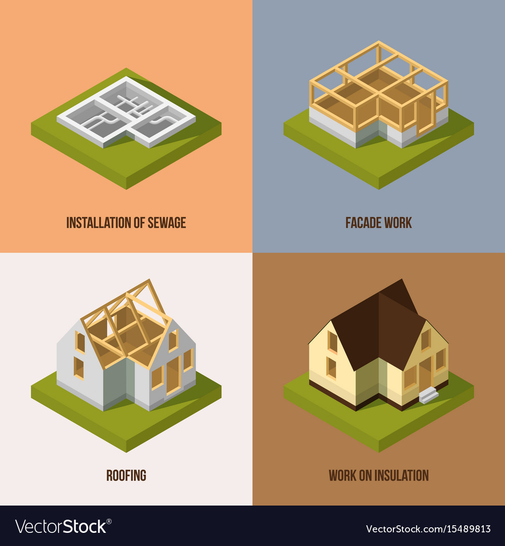 Perfect Different Construction Stages Isometric Vector Image