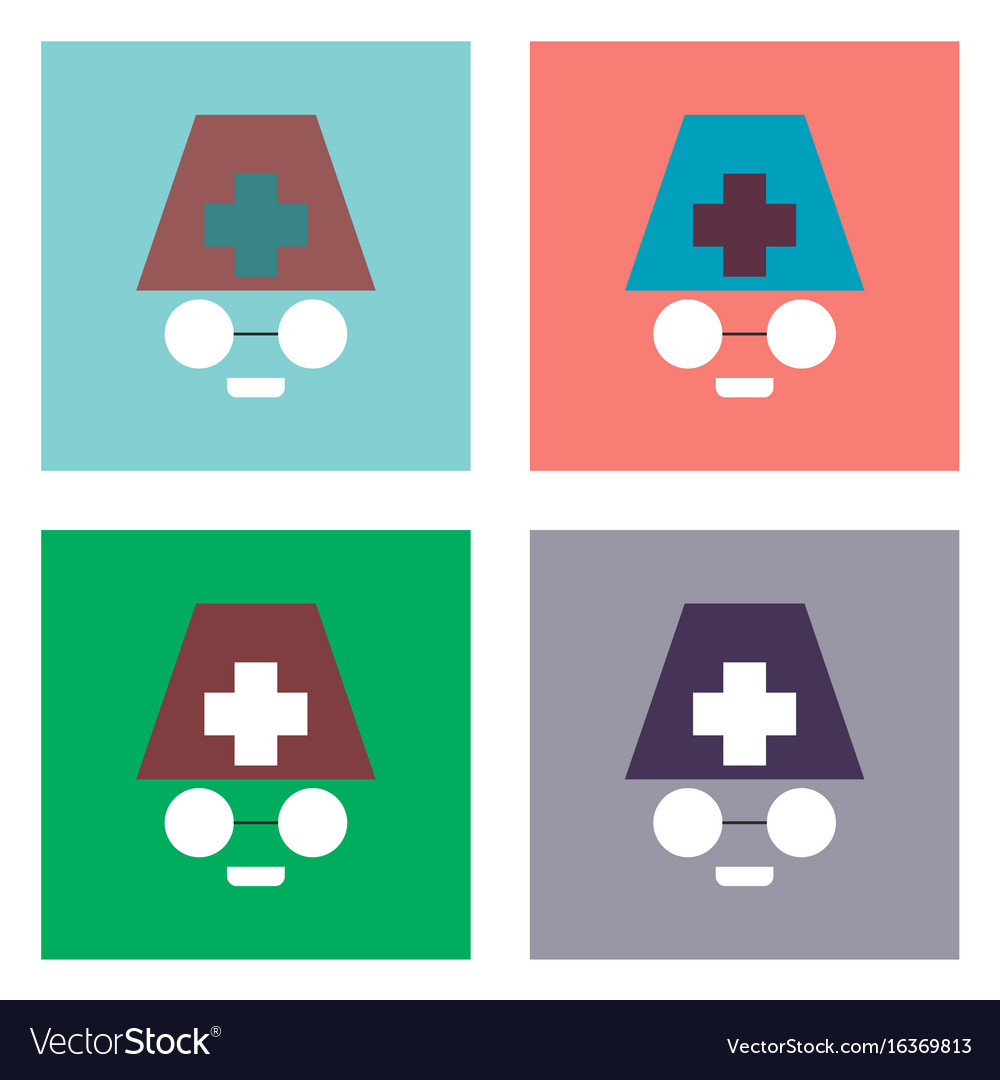 Flat icon design collection doctors face