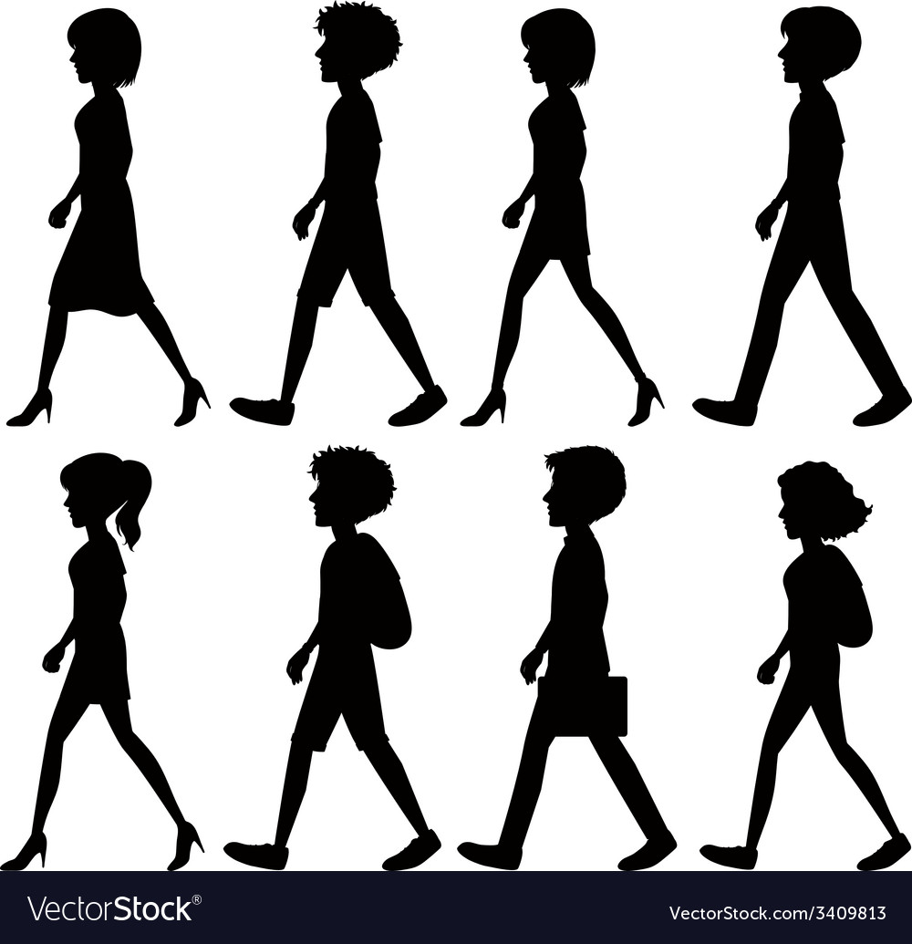 Silhouette Of People Walking Vector Image