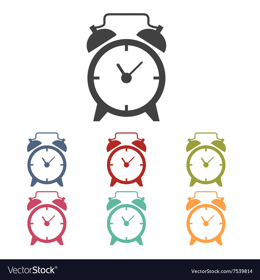Alarm clock icons set vector image