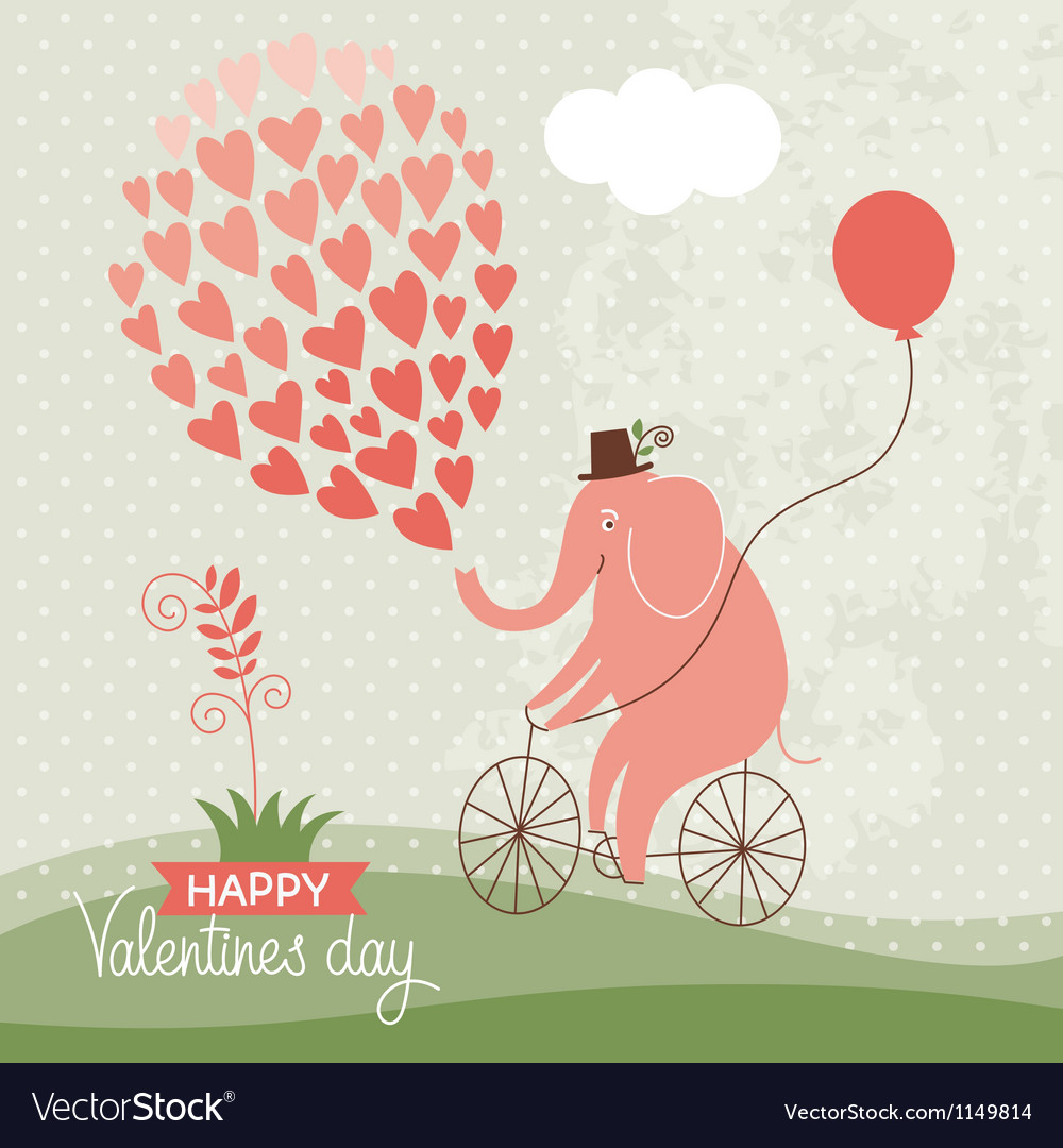 Cute elephant on a bike Valentine card Royalty Free Vector – Elephant Valentines Card