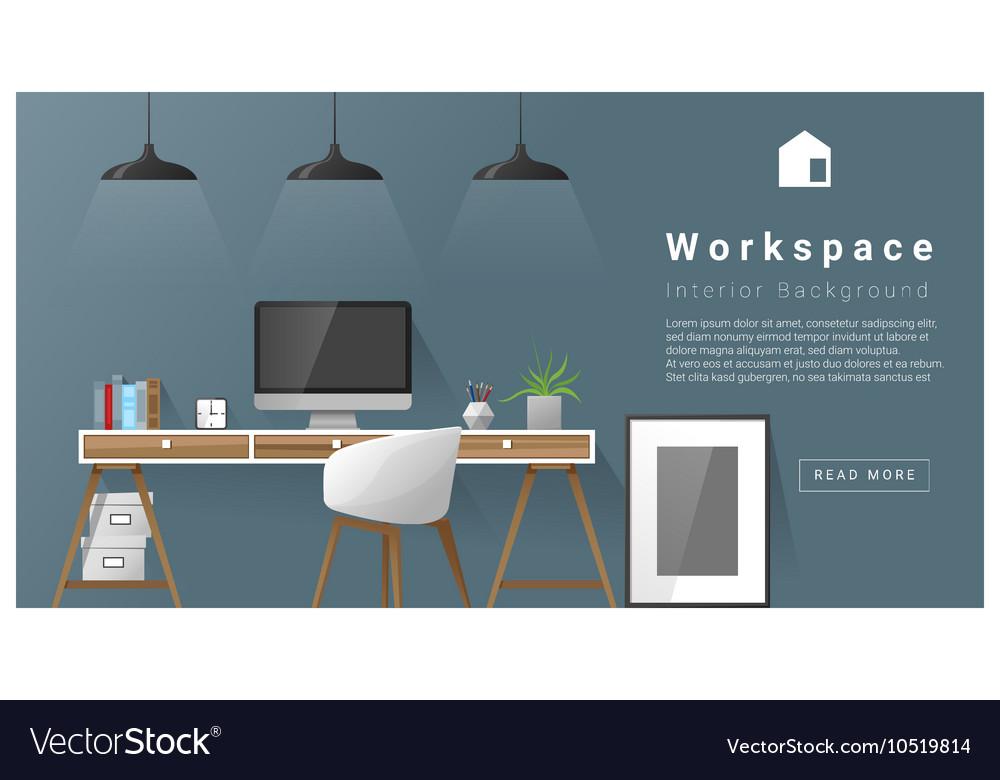 Interior design Modern workspace background 3 vector image