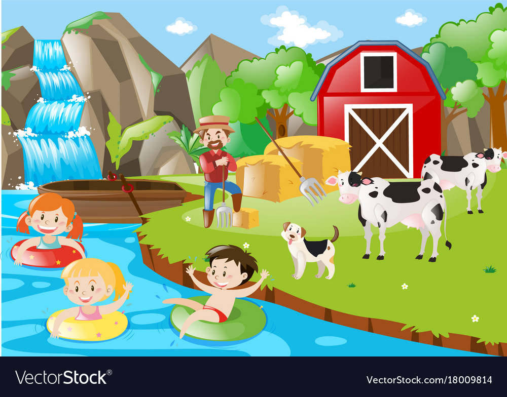 Kids playing in the river by the farm vector image