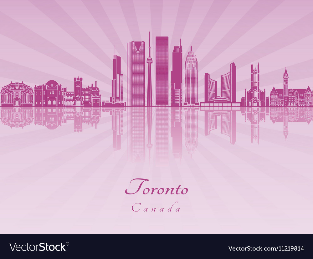Toronto V2 skyline in purple radiant orchid vector image