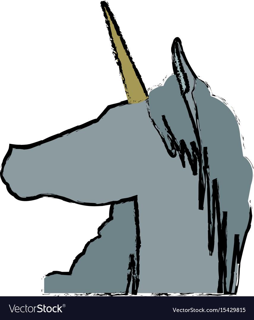Head unicorn horn fantasy animal mythology vector image