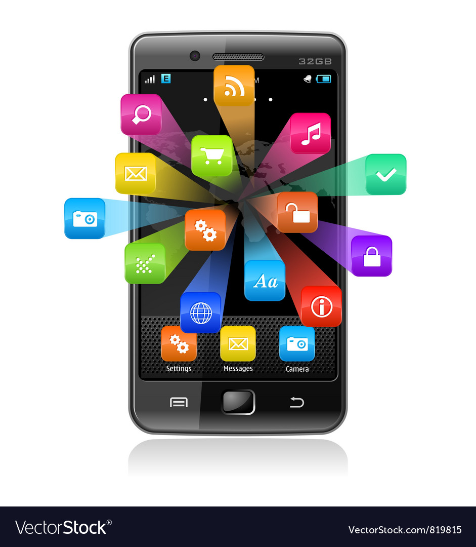 Touchscreen smartphone with application icons vector image