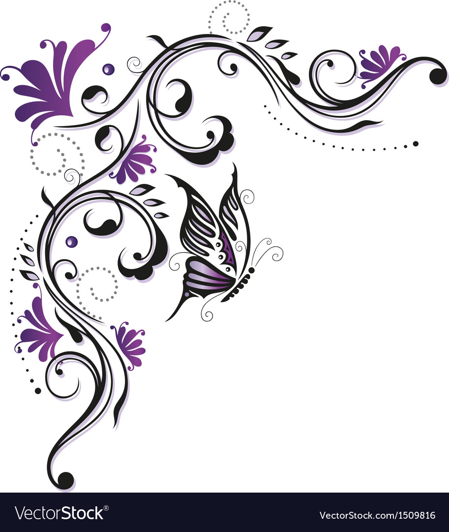 Flowers butterfly purple violet vector image