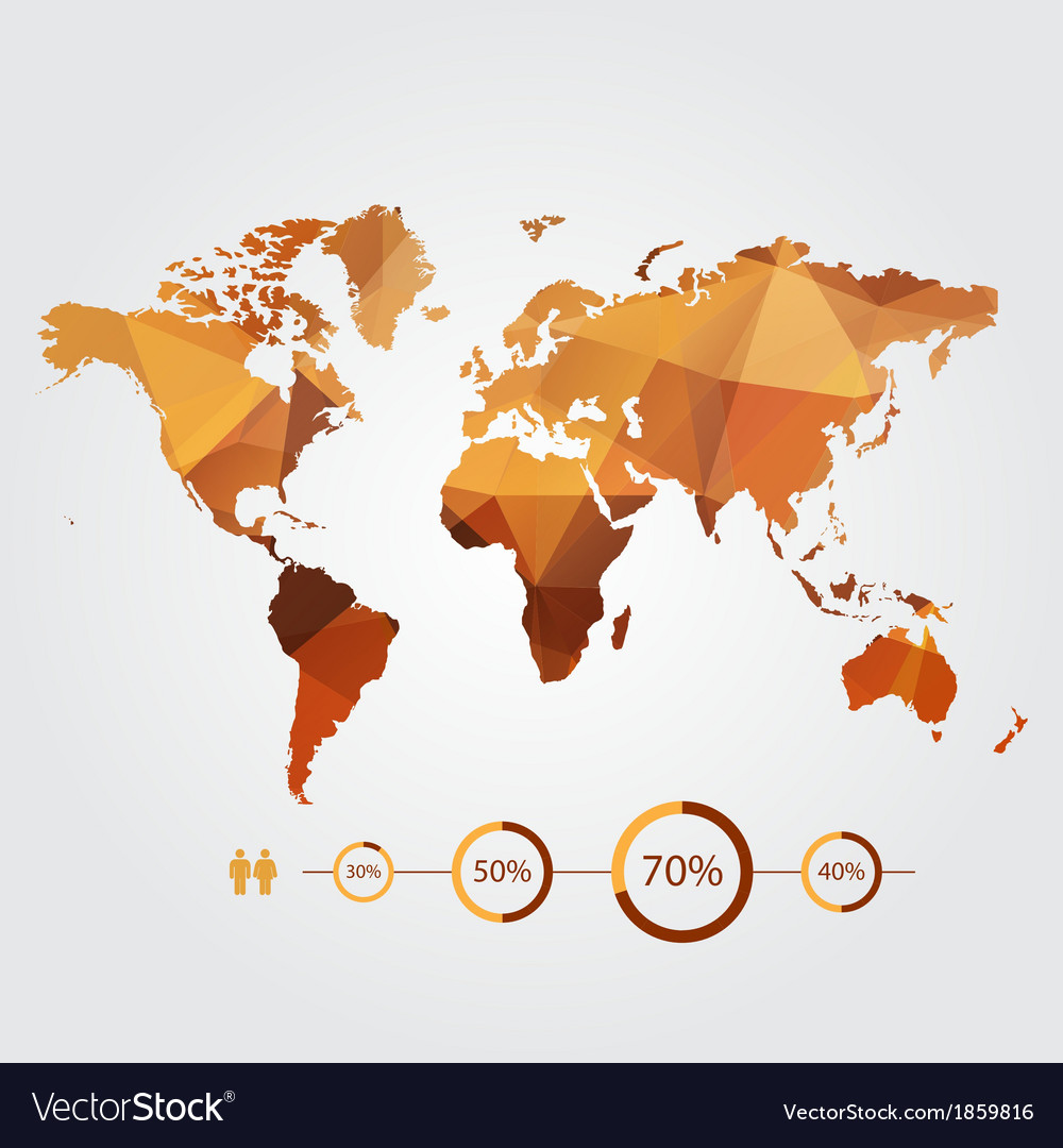Modern Design World Map. Modern concept of world map with infographic vector image Vector Image