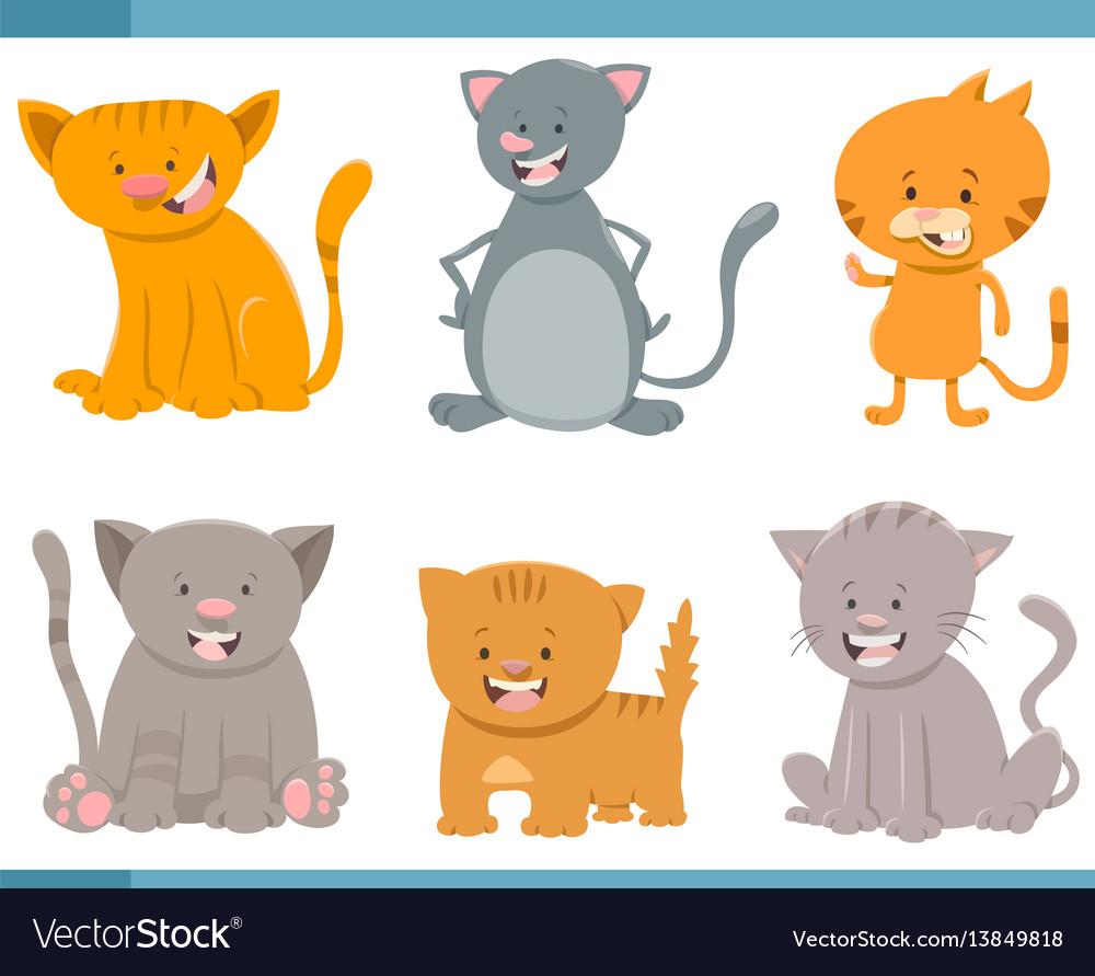 Cute cat characters set vector image