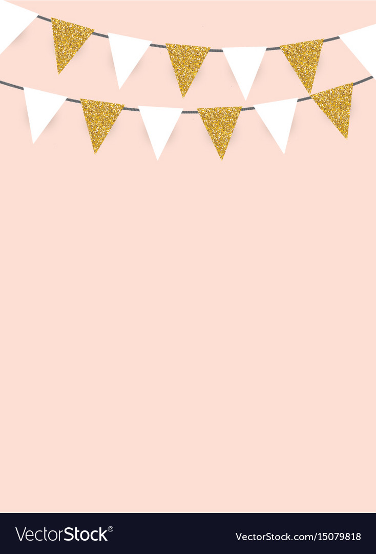 Party background with golden glitter flags vector image