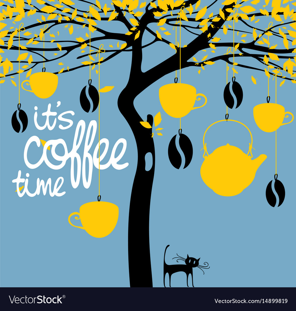Banner for a coffee house with a picture of a tree vector image