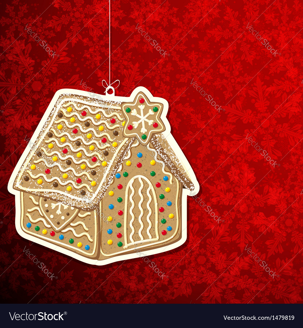 Christmas background with gingerbread house vector image
