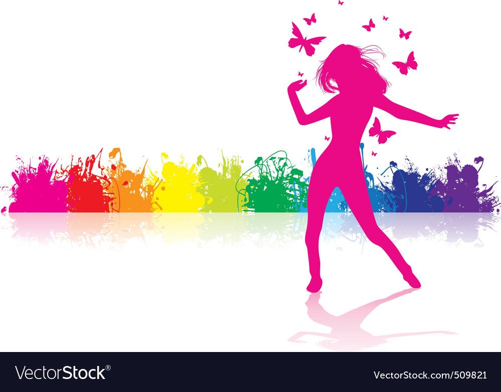 Dancing girl rainbow vector image