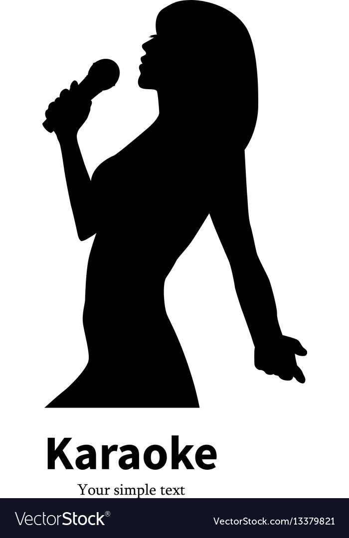 Silhouette singing girl with a microphone vector image