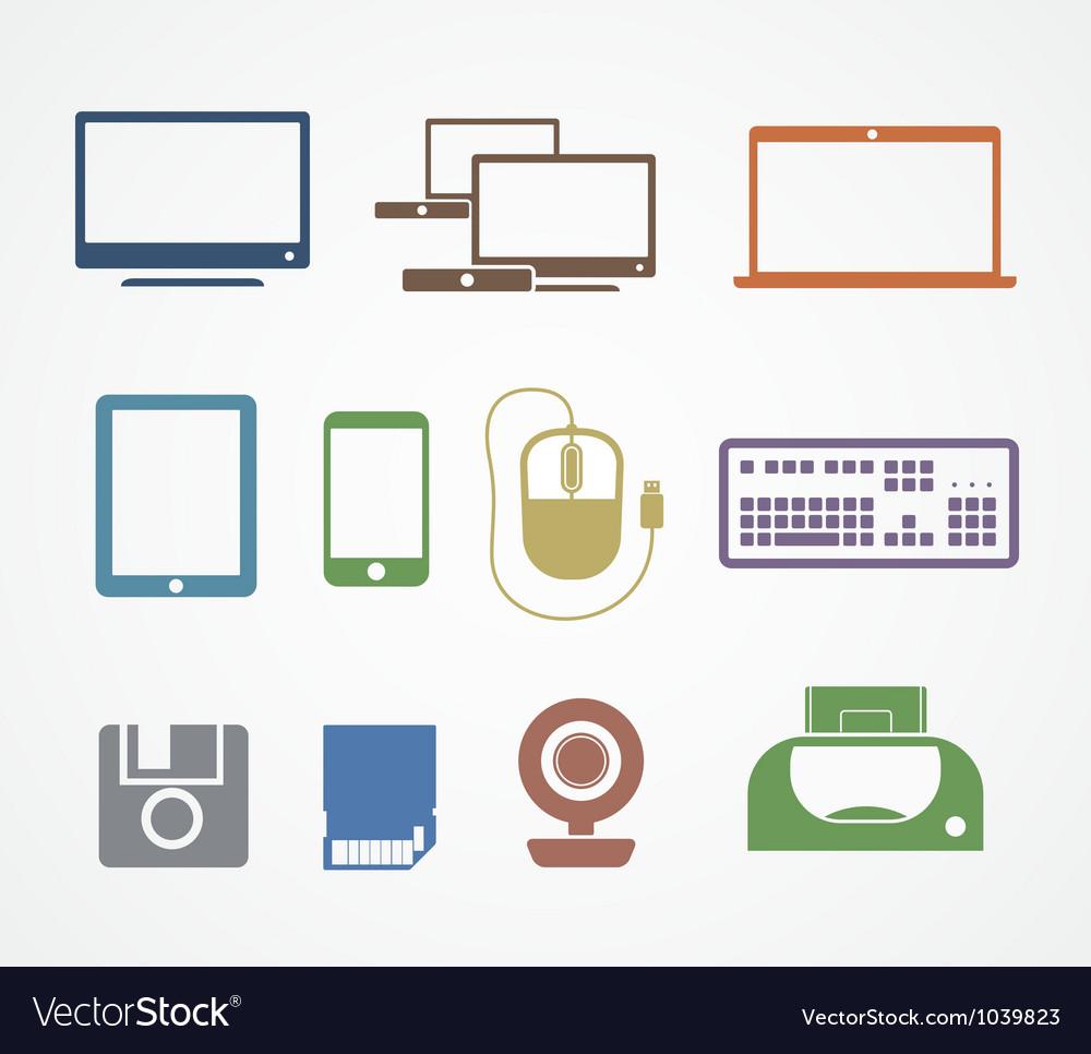 Digital stuff icons vector image