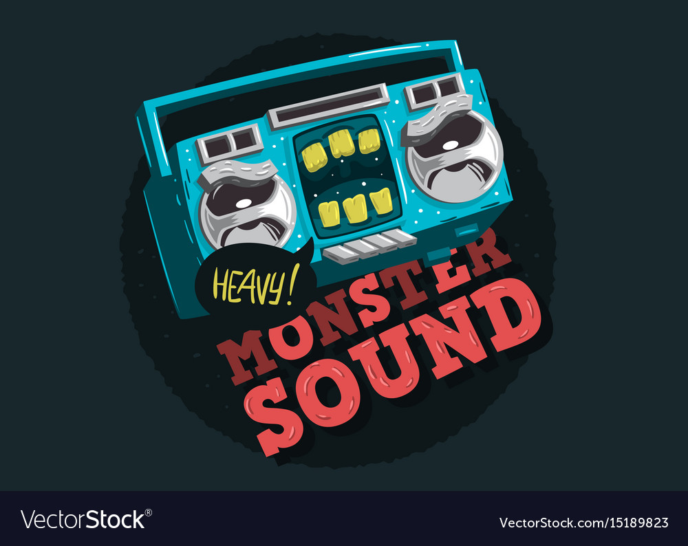 Cartooned funny monster cassette tape characte vector image