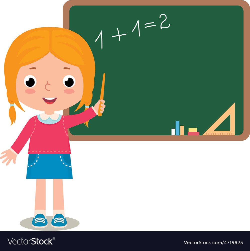 Child girl pupil at the school board vector image