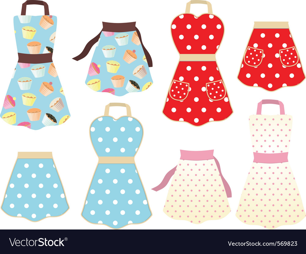 Retro styled cooking aprons vector image