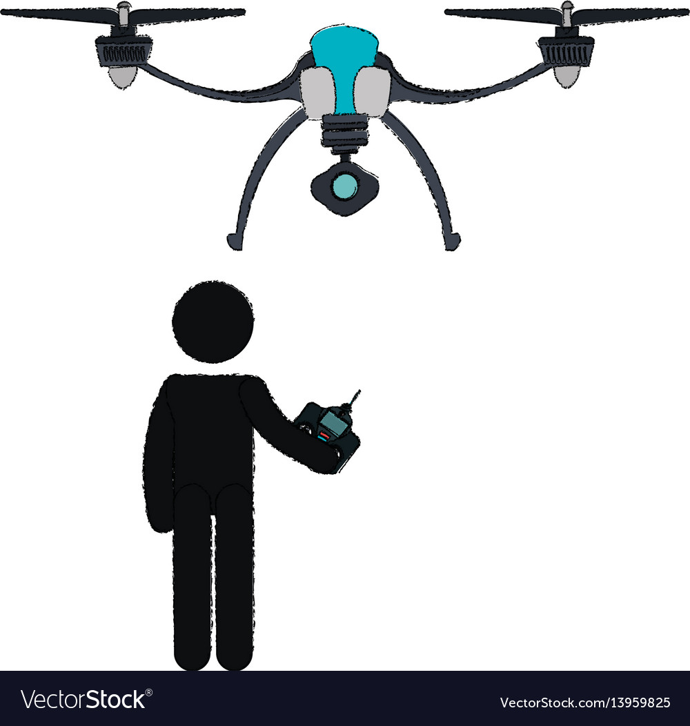Person silhouette flying drone vector image