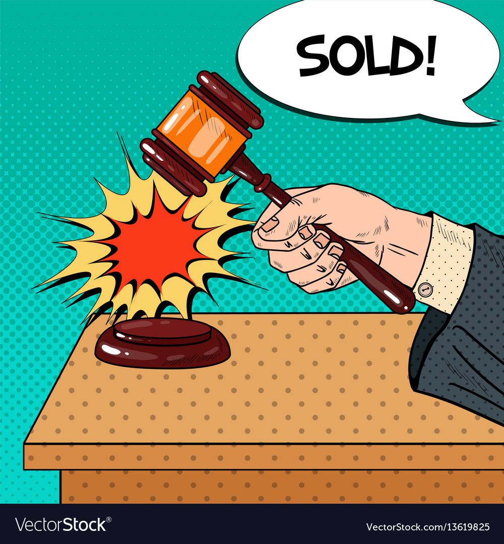 Pop art hand hitting wooden gavel in a auction vector image