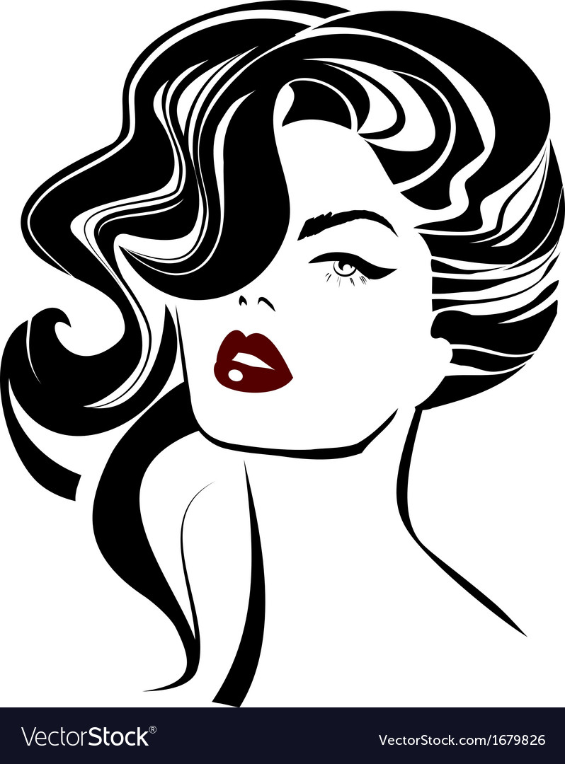 Vintage woman face Fashion and Hair icon vector image